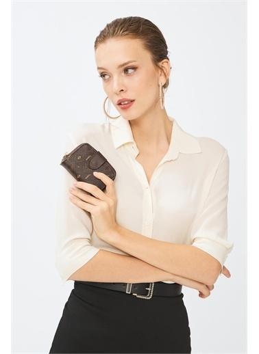 Deri Company Deri Company Kadın Basic Monogram Desenli Taba Mini Cüzdan Kahve